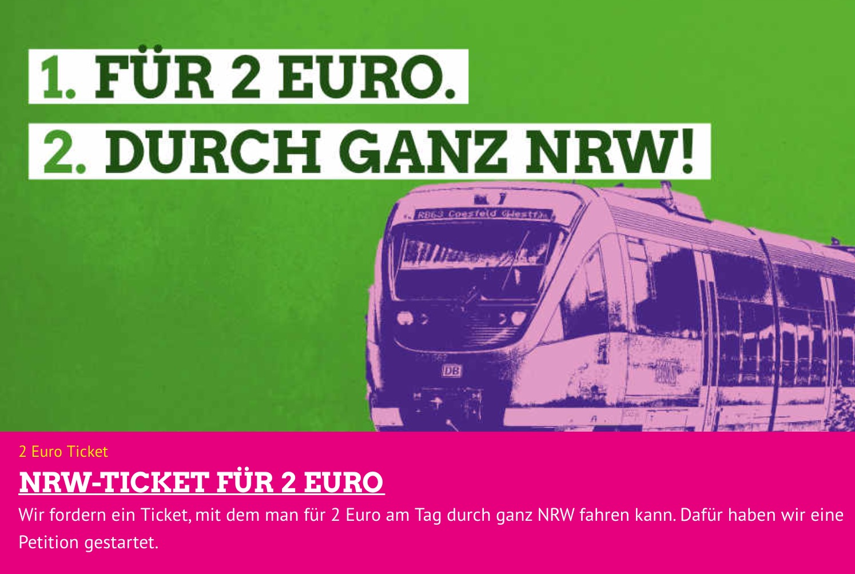 NRW-Ticket für 2 Euro