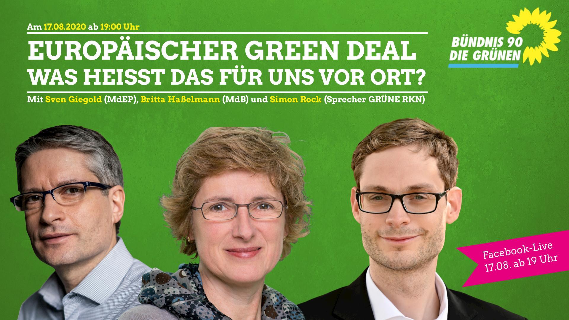 """Digital und AnsprechBar —   """"Green Deal"""" mit Britta Hasselmann, Sven Giegold und SimonRock"""