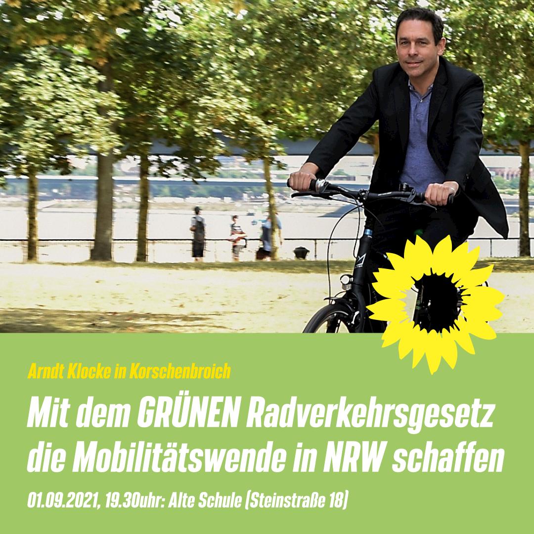 Fahrradpolitischer Abend mit Arndt Klocke in Korschenbroich am 01.09.2021