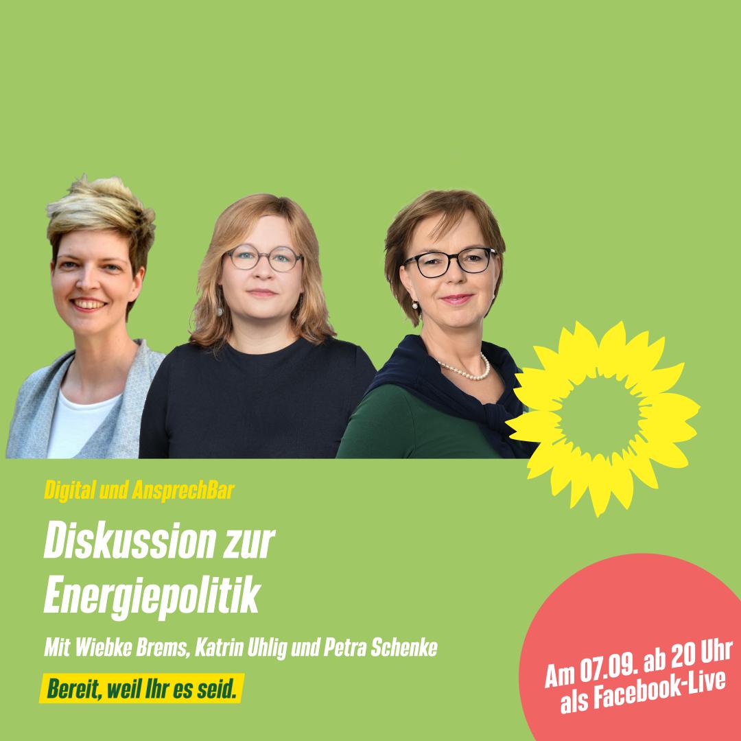Diskussion zur Energiepolitik: Katrin Uhlig, Wibke Brems und Petra Schenke